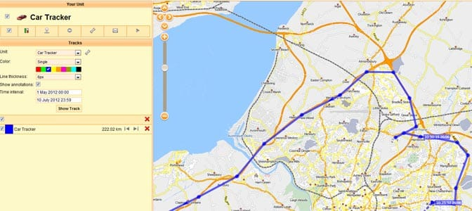 free online GPS Tracking map example